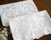 "2 Vintage Pillowcases, White Cotton Linen Blend, Blue Embroidery, Cutwork, Scalloped Hems  33"" x 20"""