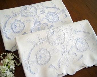 "2 Vintage Pillowcases, White Cotton Linen Blend, Blue Embroidery, Cutwork, Scalloped Hems  33"" x 20"""