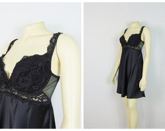 Vintage Nightgown Victoria's Secret Black Lace Push Up Cups Nylon Skirt Black Negligee Black Nightie Modern Size Medium