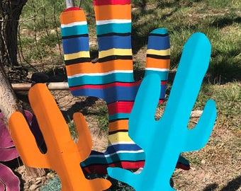 Serape cactus -  Southwestern decor - Corrugated tin cactus
