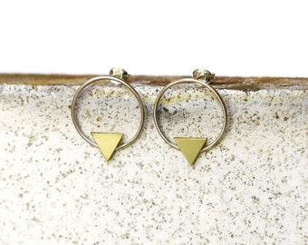 Circle and triangle stud earrings - Silver and brass earrings - Simple earrings - Everyday earrings - Circle stud earrings - Circle earrings
