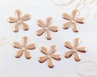 Rose Gold Flower, Flower Stamping, Daisy Bead Cap, Flower Embellishment, 17mm - 6 pcs. (rg170)