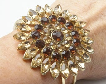 Citron Root Beer Navette Thermal Rhinestone 1980's Vintage Costume Jewelry Clamper Bracelet Gift For Her on Etsy