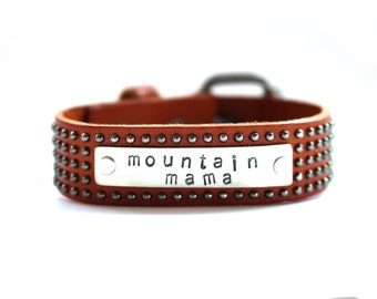 leather cuff, leather bracelet,  mountain mama,  stamped bracelet, stamped cuff, mommy bracelet, gift for her, rad girl gift, colorado gift