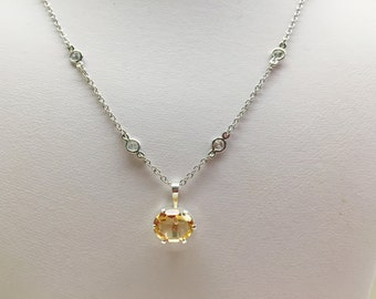 Citrine and Cubic Zirconia Choker Silver Necklace
