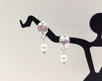 White Topaz and Freshwater Pearl Dangle Silver Earrings