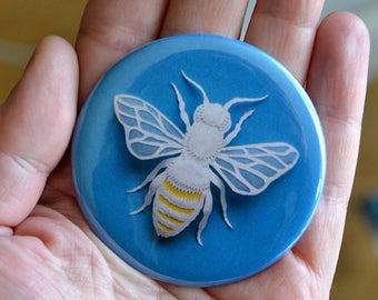 Honey Bee - Pocket Mirror - Paper Cut Sculpture - Giftware - Round Mirror
