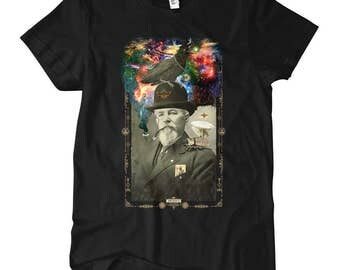 Women's Odd Scientist T-shirt - S M L XL 2x - Ladies' Artist Tee, Beery Method, Odd Arcana, Vintage Photo, Steampunk, Fancy, Science - Black
