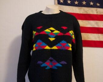 Aztec pattern // black // vibrant // Navajo // Festival // Shozeby Knits top