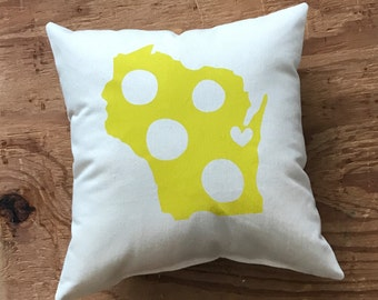 Cheesehead Cheesestate - Green Bay Packers pillow, Christmas, Stocking Stuffer, Gift for him, Gift for her, Wisconsin pillow
