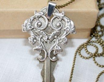 Vintage key necklace, Romantic key necklace, Altered Key necklace, Long Key necklace