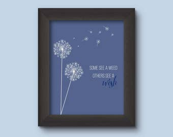 Dandelion - Weed or Wish, Inspiration, Inspirational Gift, Printable