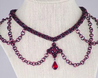Red and Black Byzantine Choker with Byzantine Diamond (chainmaille jewelry)