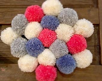 Pom Poms, Garland , Craft Supplies - Pom Pom Garland - Blue - Gray - Ivory - Coral  Pom Poms, Baby, Bridal Shower Garland, Farmhouse Style