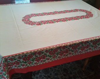 """50% OFF! 58""""x80"""" Vintage Mid Century Christmas Tablecloth POINSETTIA Border Excellent"""