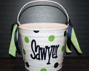 10 QUART Personalized Easter Bunny Bucket/Pail- Custom Easter Basket - Cute Easter Pail - Easter Egg Hunt - Assorted Colors/Designs