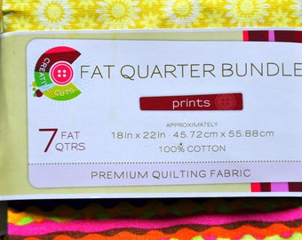 Fat Quarter Bundle - Cotton Quiliting Fabric - Bright Fall Colors - 7 Fat Qtrs