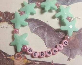 Pink and Seafoam Mermaid Kandi Bracelet