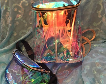 Angel Aura Iridescent Backpack in Fire Opal | Rave Backpack | Rave Bag | Rave Accessory