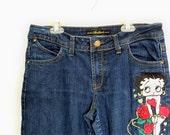 Embroidered jeans, denim capris, decorated jeans, Betty Boop jeans, trending now, vintage jeans,Capri pants, Size 10/11 jeans, bohemian