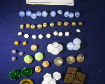 Vintage Lot of 80+ Glass Buttons Assorted Colors Sizes