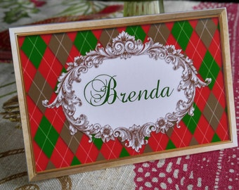 VICTORIAN CHRISTMAS ARGYLE Place Cards Personalized Place Cards Vintage Inspired Holiday Place Cards Elegant Christmas Place Cards Set of 12