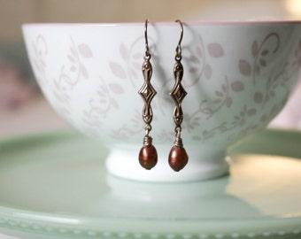 Pearl Deco earrings - vintaj brass freshwater bronze pearl earrings for women, dressy, casual, vintage inspired earrings, freshwater pearls