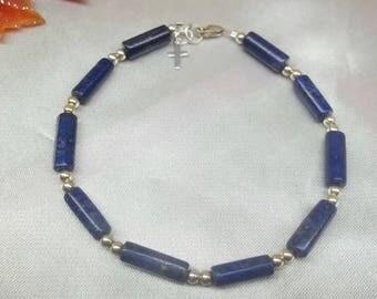 Blue Lapis Lazuli Bracelet Blue Lapis Bracelet Cross Bracelet Christian Jewelry Adjustable Bracelet Sterling Silver BuyAny3+1 Free