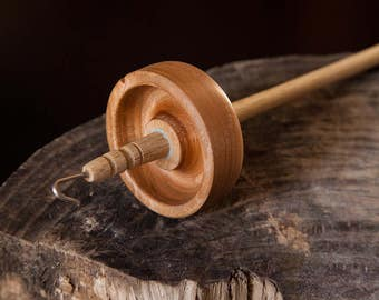 Hand turned Cherry and Maple top whorl drop spindle
