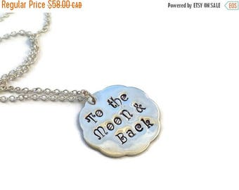 SALE To The Moon & Back, Sterling Silver Hand Stamped Scalloped Pendant Necklace