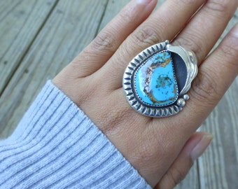 Huge Navajo Native American Kingman turquoise ring 9