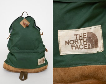 1970s THE NORTH FACE Backpack Leather Bottom Tear Drop Two Compartment Daypack Backpack