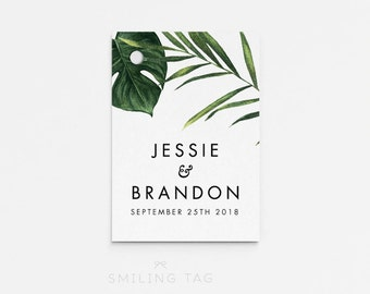 Printable Wedding Favor Tags Printable - Modern Tropical Foliage Wedding Bachelorette Bridal Shower Favors Gift Tags (Item code: P404)