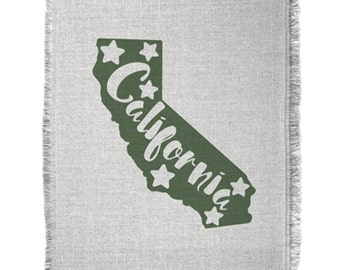 California State Map, Woven Throw Blanket, Woven Tapestry Throw, California, California State, throw blanket, bedding