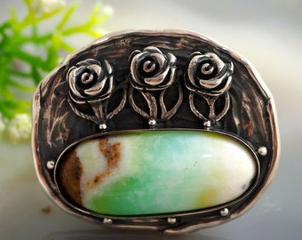 Chrysoprase Ring Flowers Statement Ring Sterling Silver Jewelry