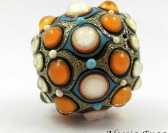 """Hand made focal lampwork glass bead in coral, ivory and light turquoise, """"Fenice"""" series."""