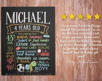 "4th birthday chalkboard style custom ink drawing, 11""x14"" art board, the original Favorite Things Poster™"
