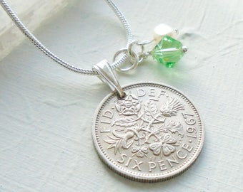 50th Birthday Gift for Women, 1967 Lucky Sixpence Necklace, August Birthstone, Peridot, Coin Necklace, Sterling Silver, Anniversary