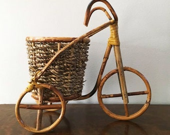 Bamboo and Wicker Tricycle Planter ~ Plant Stand