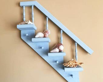 Vintage Staircase Shelf in Sky Blue / Knick Knack Shelf / Chalk Painted