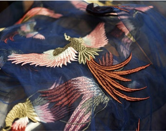 navy blue lace fabric with heavey embroidered flock colorful embroidered lace fabric with phoenix, birds, 2016 new arrival, hot selling