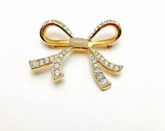 Vintage Art Nouveau Bow BROOCH, Gold Tone, Clear Rhinestones, Figural Pin, Item No. B500