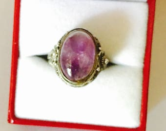 Art Deco amethyst ring, vintage silver, large oval stone, Clearance Sale, item No. S505