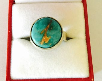 Sterling silver ring Size 7., round Turquoise, 3D Boho jewelry, Clearance Sale, item No. S777