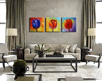 Oil Painting Tulips Original  Impressionist Modern Fine Art Paula floral 3 panel gift wall decor