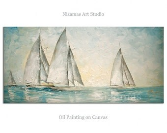 Oil Painting Sailboats  by Paula Nizamas ready to hang cool color calming palette