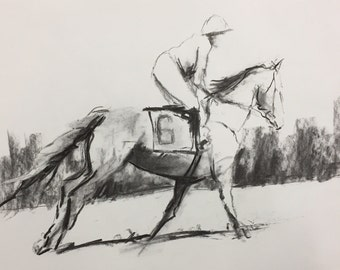 """Original 11"""" x 14"""" Charcoal Drawing, horse art, equestrian sketch, steeplechase, maryland, virginia, hunt country art by whitney knapp"""