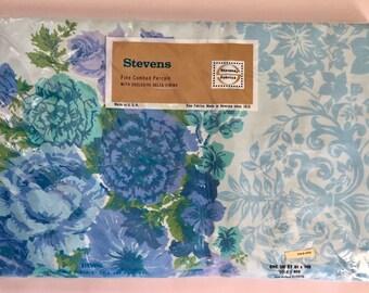 "Vintage 1960s Stevens Utica Cotton Percale Blue Floral ""Elegante"" Full Flat Sheet NEW"