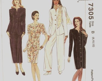 15% OFF SPRING SALE McCalls Pattern 7305 Princess Seams Shirt Dress  Jacket Pants and Skirt Sizes 8-10-12 Uncut