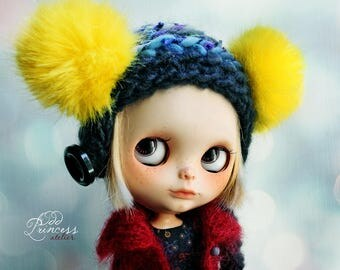 Blythe Ooak Helmet WEEKEND FUN By Odd Princess Atelier, Hand Knitted Collection